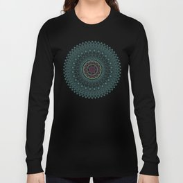 Color teal and purple feather mandala hippie boho Long Sleeve T-shirt