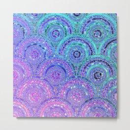 Aqua Blue Purple and Pink Sparkling Glitter Circles Metal Print