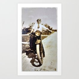 Vintage Early 1900's Motorcycle & Rider Art Print