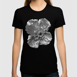 Greyscale transparent poppies on orange-pink-red background T-shirt