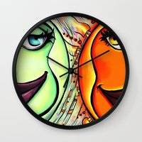 sun and moon Wall Clocks featuring Moon & Sun by spasticlizard
