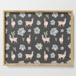Cute Llamas & Amaryllis Floral Pattern Serving Tray