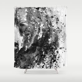 Black And White Half Faced Grizzly Bear Shower Curtain