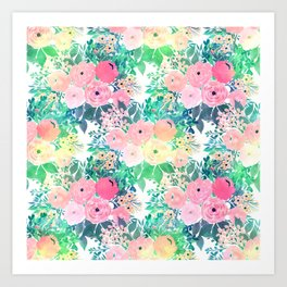 Pretty Pink Yellow & Green Watercolor floral paint Art Print
