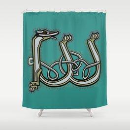 Celtic Medieval Badger Letter W Shower Curtain