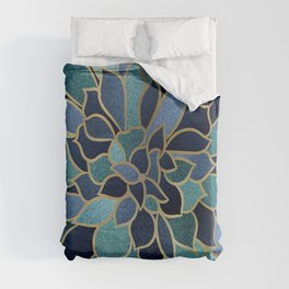 Festive, Floral Prints, Navy Blue, Teal and Gold Duvet Cover