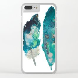 Blue Feathers Clear iPhone Case