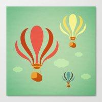 hot air balloon Canvas Prints featuring Hot Air Balloon Ride by Irene Chan