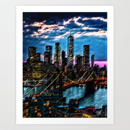 Lower Manhattan and Brooklyn Bridge Landscape Painting by Jeanpaul Ferro Art Print