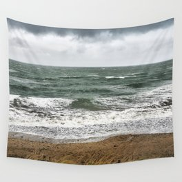 Land and sea under stormy clouds Wall Tapestry