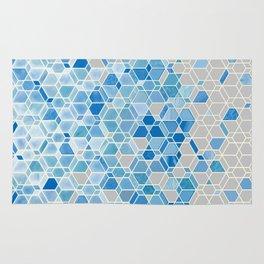 Cubes & Diamonds in Blue & Grey  Rug