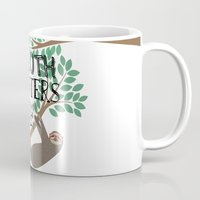 sloths Mugs featuring Hipsters Love Sloths by Katy Souders
