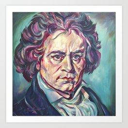 Ludwig van Beethoven, Beethoven's portrait, composer, art print, Art Print