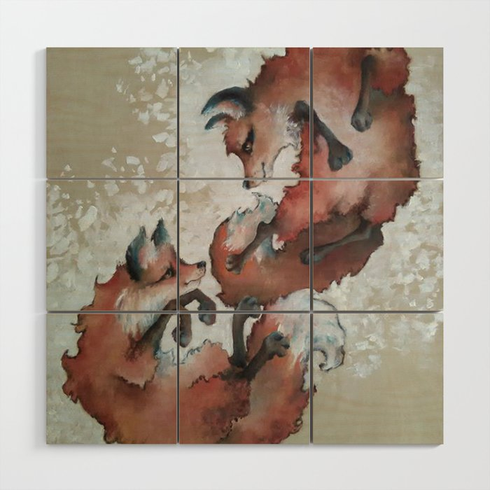 Foxes, snow day Wood Wall Art