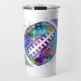 American Football Ball Art Colorful Blue Purple Watercolor Art Sports Gift Travel Mug