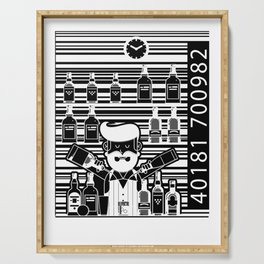 Bar code alcohol hipster bartender funny gift Serving Tray