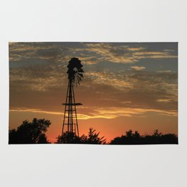 Kansas Golden Sunset with Windmill Silhouette Rug