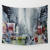 new york Wall Tapestries featuring New York - New York by Nicolas Jolly