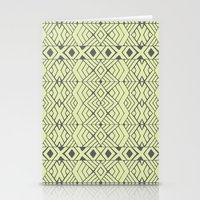 lime green Stationery Cards featuring Lime Green Aztec by Pom Graphic Design