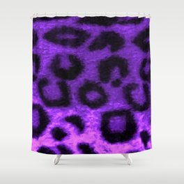 Spotted Leopard Purple Shower Curtain