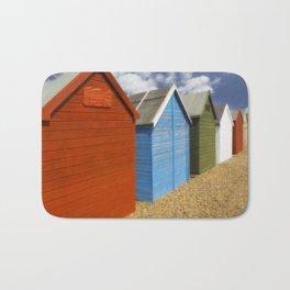 Multi-coloured beach Huts Bath Mat