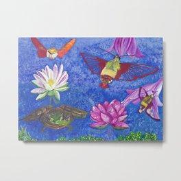 Hummingbird Moth and Frog Metal Print
