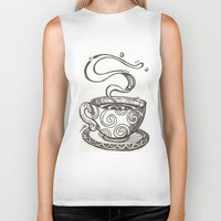 whisky Biker Tanks featuring She drinks whisky in a tea cup by grishpradip