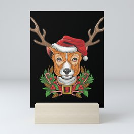 Christmas Deer Head Santa Hunting Hunter Archer Gift Mini Art Print