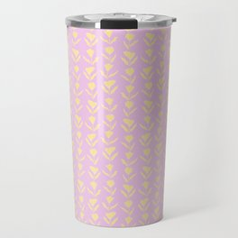 Yellow and Pink combo . summer Color trend .Floral . botanical Print Pattern Travel Mug