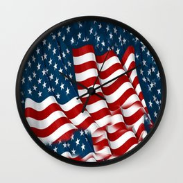 "ORIGINAL  AMERICANA FLAG ART ""STARS N' BARS"" PATTERNS Wall Clock"
