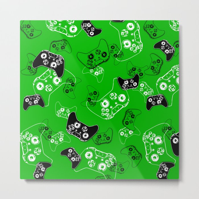 Video Game Green Metal Print