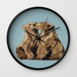 Bear Kisses Wall Clock
