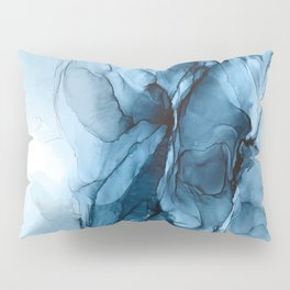 Deep Blue Flowing Water Abstract Painting Pillow Sham
