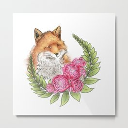 Fox in Bloom Metal Print