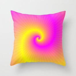 Pink and Yellow Spiral Throw Pillow