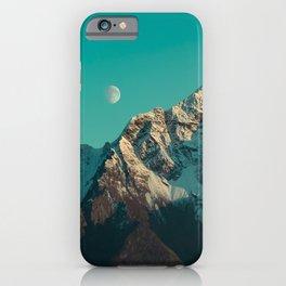 Moon Over Pioneer Peak in Turquoise - Alaska iPhone Case