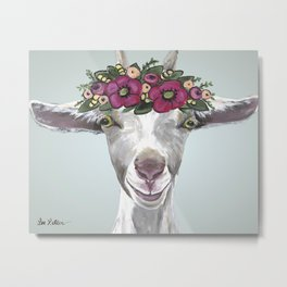 Goat Painting, Flower Crown Painting Metal Print