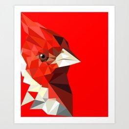 Cardinal bird Geometric bird art Red Nature Art Print