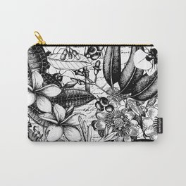 Black And White Tropical Flower Pattern Carry-All Pouch