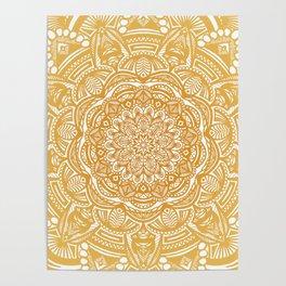 Golden Mustard Yellow Orange Ethnic Mandala Detailed Poster