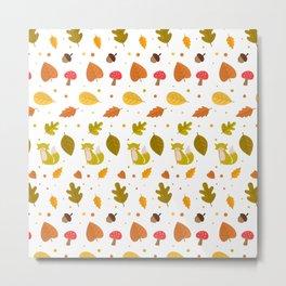 Autumn Elements Pattern Metal Print