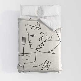 Poster-Jean Cocteau-Linear drawings-The woman-fish. Comforters