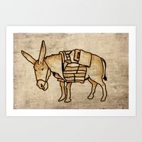 donkey Art Prints featuring Donkey by Adam Metzner