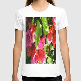 Vibrant pink and red flowers T-shirt