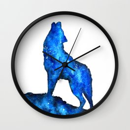 Howling Wolf | Space Wolf | Double Exposure Wolf | Wolf Painting | Blue Wolf Wall Clock