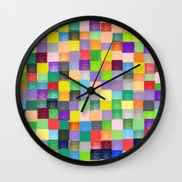 Pixelated Patchwork Wall Clock