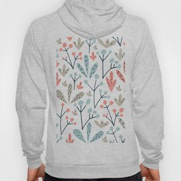 Coral Duck Egg Blue Greige Floral Leaves Hoody
