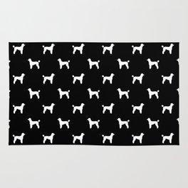 Poodle silhouette black and white minimal modern dog art pet portrait dog breeds Rug