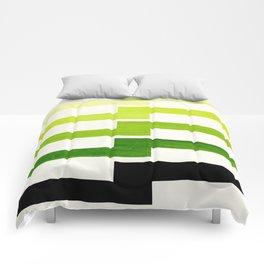Minimalist Mid Century Modern Sap Green Watercolor Painting Lightning Bolt Zig Zag Pattern With Blac Comforters