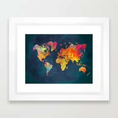 World Map blue Framed Art Print